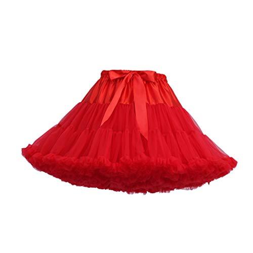 Womens Hellen Rainbow Kostüm - Andouy Damen Tutu Rock Tüll Mini Bogen Plissee Dance Organza Kostüm Prinzessin Dress-up Pettiskirt Größe 34-46(34-46,rot)