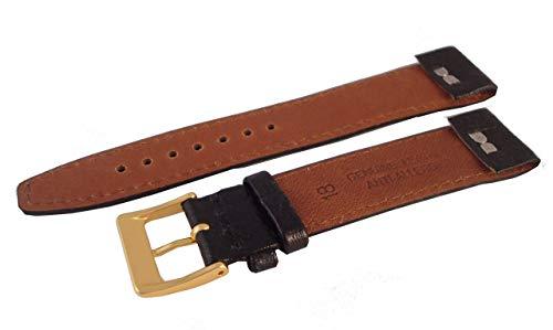 Trench Leder (Uhrenarmband-Qualität Leder-Offene Enden für Antik & Trench Uhren-Schwarz Open Ended - Black - 6mm - GP Buckle)