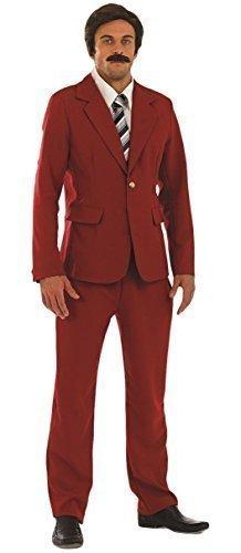 Herren Anchorman Newsreader TV Film Prominent Berühmt Comedian Comic Will Farrell Ron Burgunderrot Kostüm Kleid Outfit - Rot, (Anchorman Kostüm)