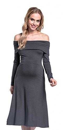 Happy Mama. Femme Robe de grossesse trapèze encolure bardot manches longues.632p Graphite