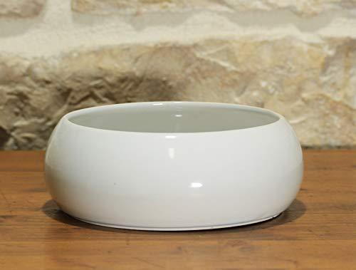 Pollice verde vaso ciotola per piante e bonsai in ceramica bianco diam. cm. 20