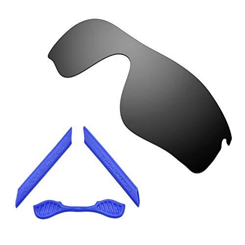 HKUCO For Oakley Radarlock Path Black Polarized Replacement Lenses And Blue Earsocks Rubber Kit