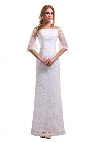 Ikerenwedding, da donna, maniche a Batteau Fodero per abiti da sera bianco 46