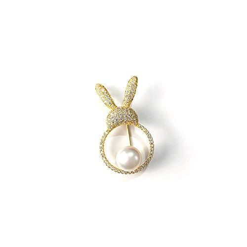 Kostüm Einfach Niedlich Weiblichen - SZNYD Natürliche Süßwasserperlenbrosche niedliche niedliche Kaninchenbrosche weibliche koreanische Version der einfachen Mode frisch hundert passende Accessoires
