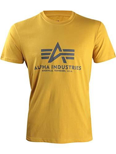 Militär-gelb T-shirt (Alpha Industries Brand Logo Basic T-Shirt Freizeit Sport Militär T-Shirt XXL Gelb)