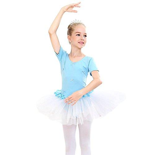 Abollria Mädchen Tüll Kleid Kurzarm Ballettkleidchen Sommer Festlich -