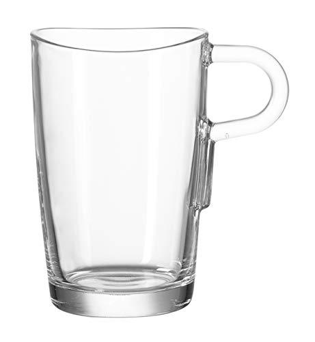 Leonardo Loop Latte Macchiato Tasse, 6-er Set, 365 ml, hitzebeständiges Klarglas, 043366