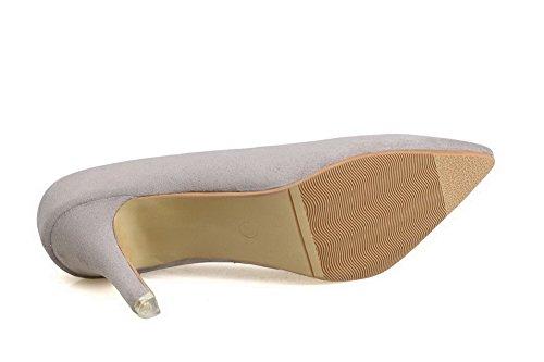 AalarDom Femme à Talon Haut Pointu Suédé Tire Chaussures Légeres Gris-Dépolissement