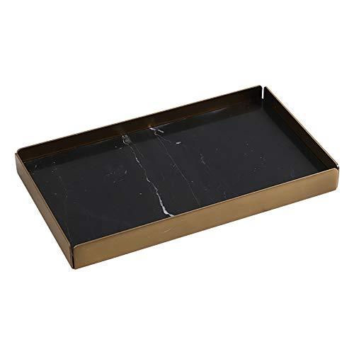 P&KK Service Tablett Tee Tablett, Kreative Natur Marmor Tablett Sushi Teller Dessertteller Brot Schneidebrett Schmuck Aufbewahrungstablett,Black