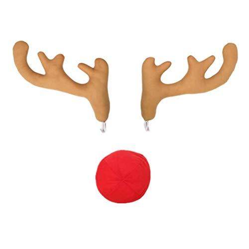 BESTOYARD 3 Stück Auto Geweih mit Nase Weihnachtsschmuck Rentier Kostüm für KFZ PKW Fahrzeuge (Hellbraun)