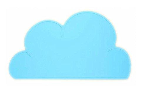 Monbedos bambini tovaglietta in silicone carino a forma di nuvola tovagliette bambino tovagliette impermeabile antiscivolo isolamento termico, blue, 47.5x27x0.3cm