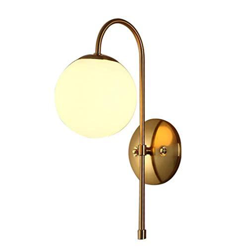 1 Licht Wandleuchte, Moderne Kunst Metall Wandleuchte mit Globus Glas Lampenschirm, Wandleuchte für Restaurant Gang Schlafzimmer Nachttisch, E27 (Metall-globus, Kunst)