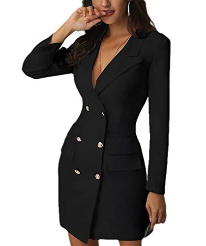 CuteRose Womens Solid Trench Coat Work Office Double-Breasted Blazer Jacket Black M -
