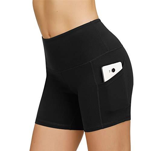IceUnicorn Damen Sport Leggins Hohe Taille Tights 3/4 Yogahose Blickdichte Kurz Laufhos Fitness Hosen Jogginghose mit Taschen Short(Shorts Schwarz, M)