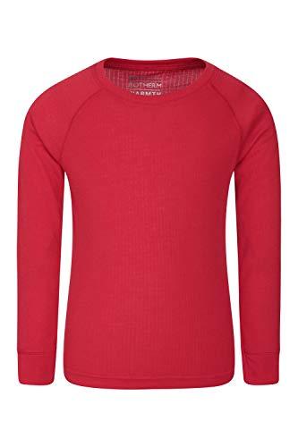 Mountain Warehouse Talus Kinder-Rundhalsoberteil Unterhemd Thermounterwäsche Skiunterwäsche Langarmshirt Winter Baselayer Rot 116 (5-6 Jahre)