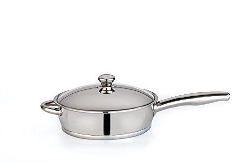 Pan Crock Pot (Berghoff Zeno Edelstahl Tiefe Pfanne mit Deckel und Kupfer Boden, silber, 24cm)