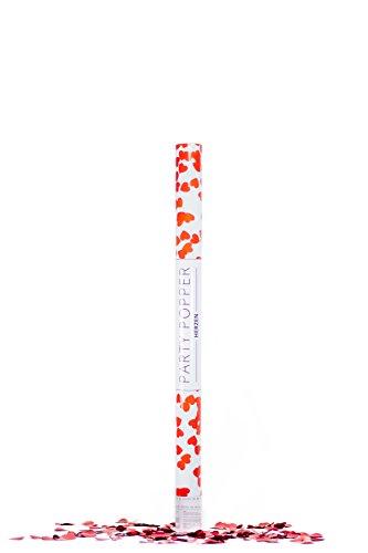 Trendario Konfetti Kanone, Party Popper mit metallic Confetti, Konfettipistole, Knaller für Hochzeit, Geburtstag (80 cm, Herz Rot)