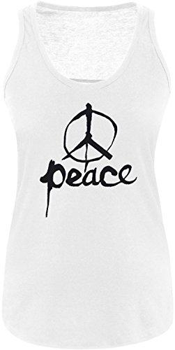 EZYshirt Peace Damen Tanktop Weiss/Schwarz