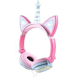 Auriculares Unicorn para niños, Orejeras con Orejas de Gato Que Brillan intensamente con LED, Auriculares con Cable para niños de 85dB Volume Limited, Auriculares inspirados en Gatos para niñas