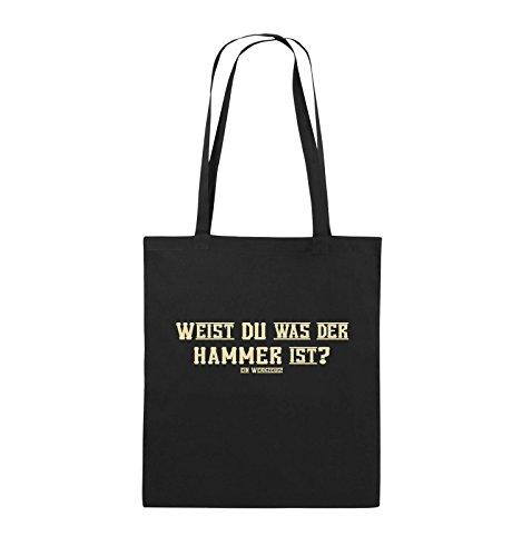 Comedy Bags - WEIST DU WAS DER HAMMER IST? - Jutebeutel - lange Henkel - 38x42cm - Farbe: Schwarz / Silber Schwarz / Beige