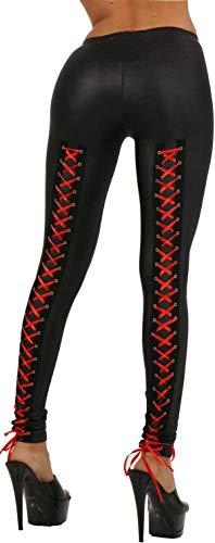 Miss Noir Damen Leggings im Wetlook mit Schnürung Satinbänder Exclusives Clubwear (L/XL) 18256-BR