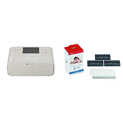 Canon italia selphy cp1300 stampante portatile, bianco + canon kp-108in carta fotografica (108 fogli 10x15 cm) e cartuccia colore per stampante selphy, 3115b