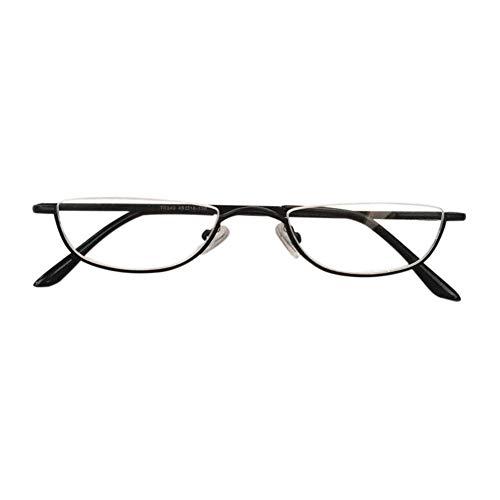 Halbrandbrille Lesebrille Herren - Zhuhaixmy Stil Retro Frühling Scharnier Metall Hälfte Mond Rahmen Leser Unisex Brillen Dioptrie +1.00 bis +4.00
