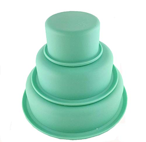 Faneli 3er Set Silikon Rund Kuchenform Tortenbackform Silikonbackformen für Kuchen und Torten zum Backen, Tortenformen 3-er Set, 7, 14 und 19 cm Silikon, grün - Backen Silikon-set