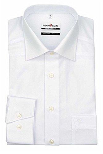 MARVELIS Comfort Fit Herren Hemd New Kent Langarm Popeline- Gr. 44, Weiß