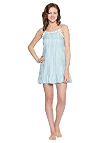 dcf0efadac Nighty for Women - Blue Night wear - Short Nighty for Ladies - Cotton  Material Lounge