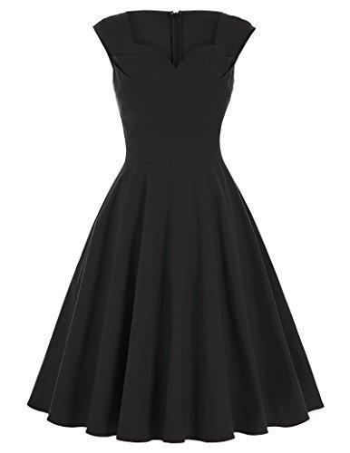 1950er-jahre-kleider Frauen Für (1950er rockabilly kleid retro vintage petticoat kleid schwarz festliches kleid Größe L BP125-1)