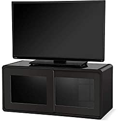 MDA Designs Nora TV-Schrank mit Schiebetüren, 26-132 cm, Schwarz mit schwarzem Strahl