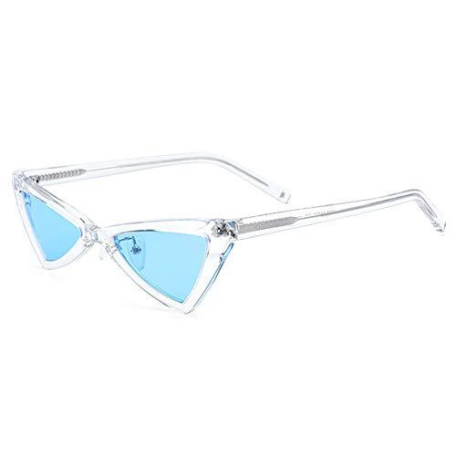 Zona Elegent New Kleine Grenze Polarisierte Sonnenbrille Mode Dreieck Brille Weibliche Retro-Platte Katzenauge Sonnenbrille Transparenten Rahmen Blaue Linse UV400 Schutz Bezaubernd