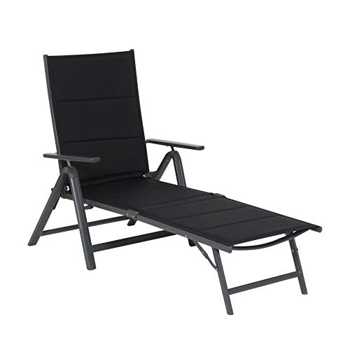 Chaise longe relax Grenada - Chaise longe de jardin inclinable - Fauteuil relax design noir - Fauteuil de jardin multiposition - Bain de soleil pliant - Fauteuil de jardin aluminium