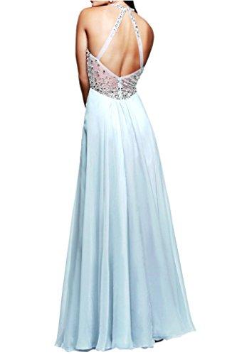 Ivydressing Damen Reizvoll Neckholder Paillette Promkleid Lang  Chiffon&Tuell Festkleid Abendkleider Himmelblau