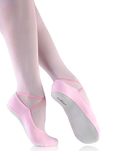 So Danca BA40 Gymnastik Slipper Schläppchen mit Chromledersohle Ballett Gymnastik Tanz Jazz Dance Yoga Fitness hell pink