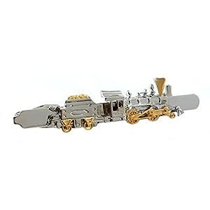 Unbekannt Krawattenklammer Lok mit Kohlewagen Eisenbahn Bicolor 6,8 cm lang + Geschenkbox