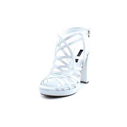 ALBANO Sandali Sposa in Raso Bianco con Fasce Intrecciate e Chiusura con Doppio Cinturino Alla Caviglia. Tacco comdo Robusto da 12cm e Plateau da 2cm. Made in Italy Taglia 40
