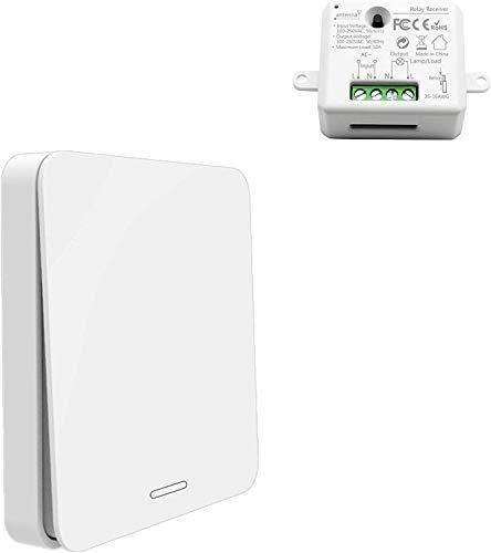 Funkschalter Set - Kinetischer Batterieloser Schalter mit Empfänger Drahtlose Ein/Aus Schaltung von Geräten bis 2500W, 200m Funkreichweite f. Auf-/Unterputz Innen-/Außenbereich