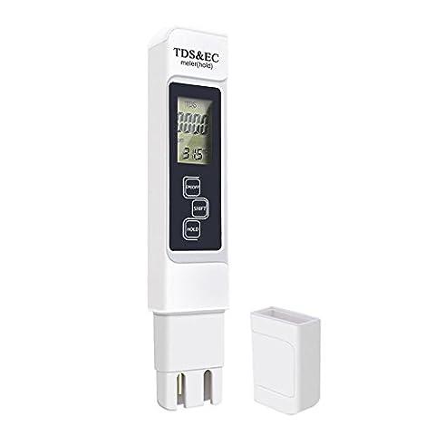 quici Digital Wasser Qualität Tester Digital TDS EC Meter Reichweite bei 0–9990Wasser Reinheit Temperatur Meter Test für Trinkwasser Drink Qualität Überwachung Rundbecken Spas Aquarium Hydrokultur Wasser Reiniger und Filter
