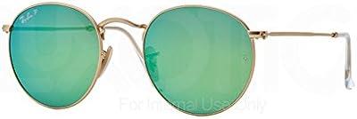 Ray-Ban Redondo Metales Gafas De Sol En Espejo Polarizado Verde Oro Mate Rb3447 112/p9 50