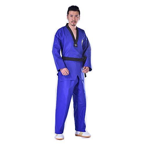 B2KEY®Sportbekleidung Blauer Taekwondo-Karate-Aikido-Anzug Erwachsene Taekwondo-Anzug Taekwondo-Uniform für Kinder Kampfsport-Trainingsoutfit Judo Taekwondo-Trainingshose mit V-Ausschnitt (1,160)