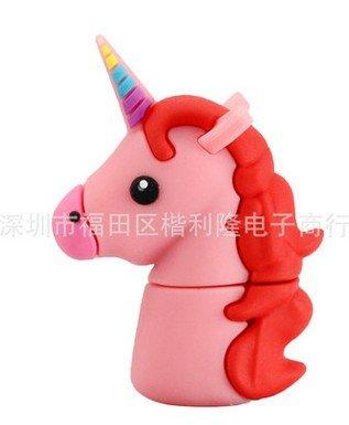 Geschenk-UK® 16GB Motiv, Rosa, Weiß, Einhorn, Pferde Pony Novelty USB-Flash-Drive-Speicher Stick * Sportschuhe 16 GB Design 3 Pink -