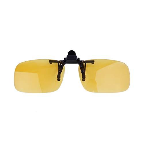 Linse coole Sonnenbrillen Brillen Clip On-Objektiv Anti-UV-400 Unisex Driving Night Vision Clip-on Flip-up für Frauen und Männer (gelb Nachtsicht)