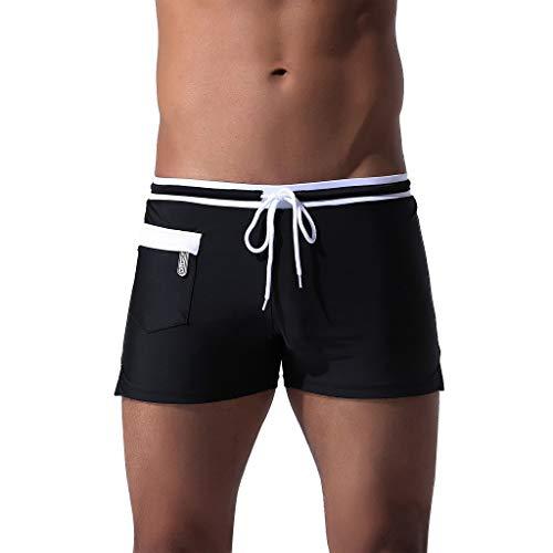 XuxMim Herren Breathable Trunks Pocket Pants Kordelzug Quick Dry Beach Shorts ()