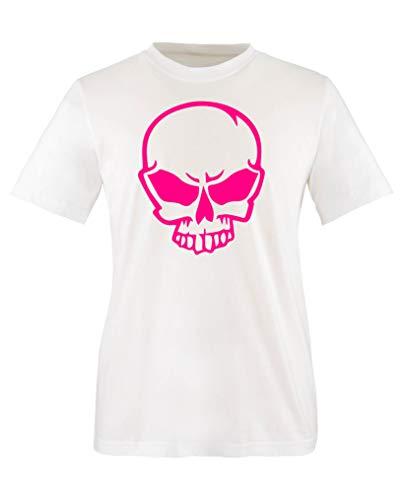 Comedy Shirts - Halloween Schaedel - Mädchen T-Shirt - Weiss/Pink Gr. 152-164