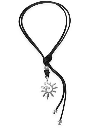 Beau Soleil Jewelry Lederkette Halskette Lederband-Kette mit Anhänger Sonne Symbol Lederschmuck Lederband-Kette (Schwarz)