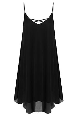 Damen Tops Mini Kleid Sommer BOHO Beach, schwarz,