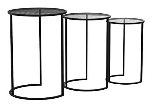 LIFA LIVING Lot de 3 Table Basse gigogne, Table Basse de Salon, Petite Table Scandinave en métal Noir, pour la Cuisine, Le Salon et la Chambre