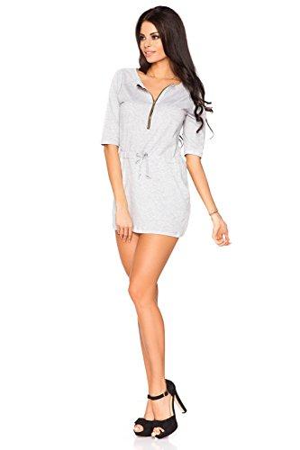Futuro Fashion Femmes Décontracté Coton Tunique 3/4 Manche Encolure en V avec fermeture éclair Taille Réglable Taille 8-14 O6572 Cendre